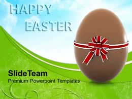 Easter Clipart Chocolate Egg With Bow Festival Powerpoint Templates Ppt Backgrounds For Slides