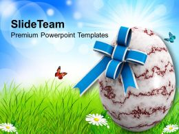 Easter Day Egg With Bow Holiday Powerpoint Templates Ppt Backgrounds For Slides
