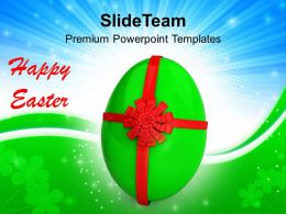 Easter Day Egg With Red Bow Celebration Powerpoint Templates Ppt Backgrounds For Slides