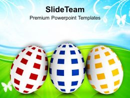 Easter Day Three Different Colored Eggs Powerpoint Templates Ppt Backgrounds For Slides