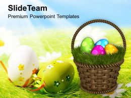 Easter Egg Clipart Colourful Eggs With Garden Theme Powerpoint Templates Ppt Backgrounds For Slides