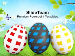 Easter Egg Clipart Three Eggs In Row Spring Season Powerpoint Templates Ppt Backgrounds For Slides
