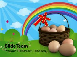 Easter Eggs Bunny In Basket Symbolizes New Life Powerpoint Templates Ppt Backgrounds For Slides
