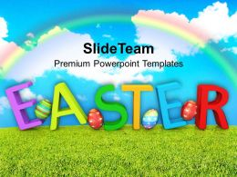 Easter Eggs Bunny Wishes With Rainbow Background Powerpoint Templates Ppt Backgrounds For Slides