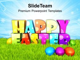 Easter Eggs Happy With Colored Surprise Powerpoint Templates Ppt Backgrounds For Slides
