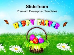 Easter Holiday Basket With Suprise Egg Powerpoint Templates Ppt Backgrounds For Slides