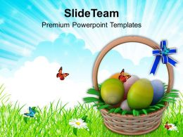 Easter Holiday Eggs Basket To Gift Powerpoint Templates Ppt Backgrounds For Slides