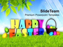 Easter Holiday Happy Theme With Multicolored Eggs Powerpoint Templates Ppt Backgrounds For Slides
