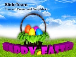 Easter Holiday Happy Wishes With Bright Sky Theme Powerpoint Templates Ppt Backgrounds For Slides
