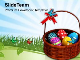 Easter Prayer Bright Eggs In Basket With Bow Celebration Powerpoint Templates Ppt Backgrounds For Slides