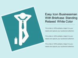 Easy Icon Businessman With Briefcase Standing Relaxed White Color