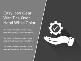 Easy Icon Gear With Tick Over Hand White Color
