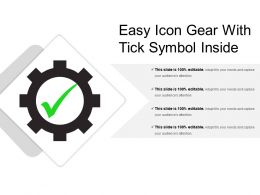 Easy Icon Gear With Tick Symbol Inside