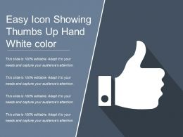 Easy Icon Showing Thumbs Up Hand White Color