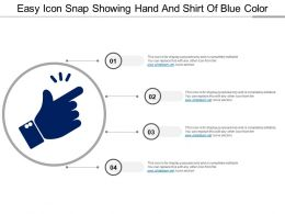 Easy Icon Snap Showing Hand And Shirt Of Blue Color