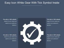 Easy Icon White Gear With Tick Symbol Inside