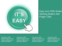 Easy Icon With Green Glowing Button And Finger Click