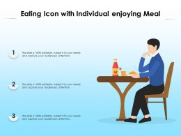 Eating Icon With Individual Enjoying Meal
