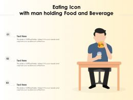 Eating Icon With Man Holding Food And Beverage