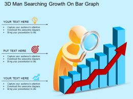 eb 3d Man Searching Growth On Bar Graph Powerpoint Template