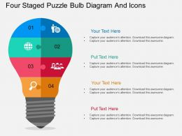 eb Four Staged Puzzle Bulb Diagram And Icons Flat Powerpoint Design