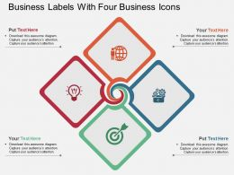 ec Business Labels With Four Business Icons Flat Powerpoint Design