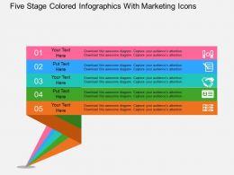 Ec Five Stage Colored Infographics With Marketing Icons Flat Powerpoint Design