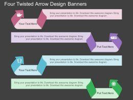 ec Four Twisted Arrow Design Banners Flat Powerpoint Design