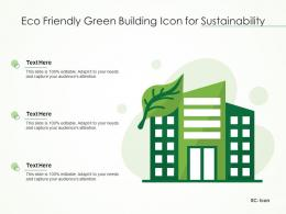 Eco Friendly Green Building Icon For Sustainability