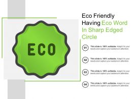 Eco Friendly Having Eco Word In Sharp Edged Circle