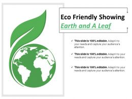 Eco Friendly Showing Earth And A Leaf