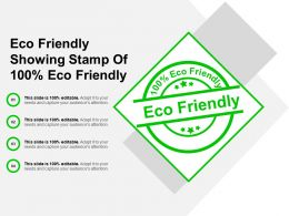 Eco Friendly Showing Stamp Of 100 Percentage Eco Friendly
