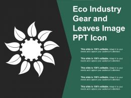 Eco Industry Gear And Leaves Image Ppt Icon
