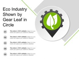 Eco Industry Shown By Gear Leaf In Circle