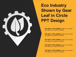 Eco Industry Shown By Gear Leaf In Circle Ppt Design