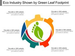 Eco Industry Shown By Green Leaf Footprint