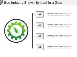 Eco Industry Shown By Leaf In A Gear