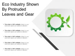 Eco Industry Shown By Protruded Leaves And Gear