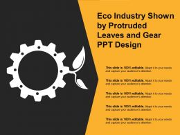 Eco Industry Shown By Protruded Leaves And Gear Ppt Design