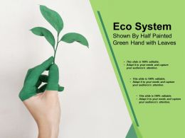 Eco System Shown By Half Painted Green Hand With Leaves