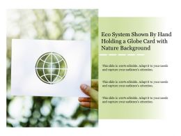 Eco System Shown By Hand Holding A Globe Card With Nature Background