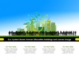 Eco System Shown Human Silhouettes Buildings And Leaves Image