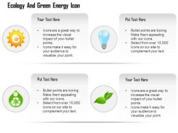 Ecology Gear Bulb Globe And Green Leaf And Recycle Symbols Editable Icons