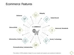 Ecommerce Features Information Destiny A676 Ppt Powerpoint Presentation Icon Brochure