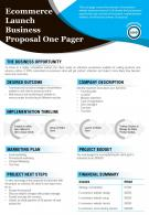 Ecommerce Launch Business Proposal One Pager Presentation Report PPT PDF Document