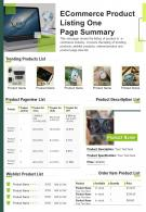 Ecommerce Product Listing One Page Summary Presentation Report Infographic PPT PDF Document