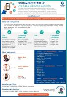 Ecommerce Start Up One Page Executive Summary Presentation Report Infographic PPT PDF Document