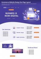Ecommerce Website Design One Page Layout Presentation Report Infographic PPT PDF Document