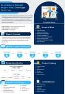 Ecommerce Website Project Plan One Page Summary Presentation Report Infographic PPT PDF Document