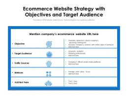 Ecommerce Website Strategy With Objectives And Target Audience